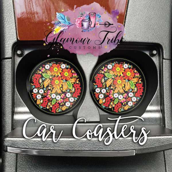 Red, Orange, and White Floral Car Coasters