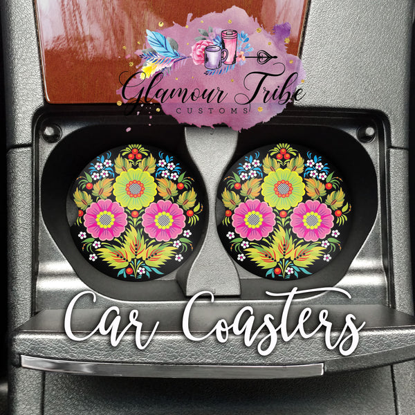 Bright Floral Car Coasters
