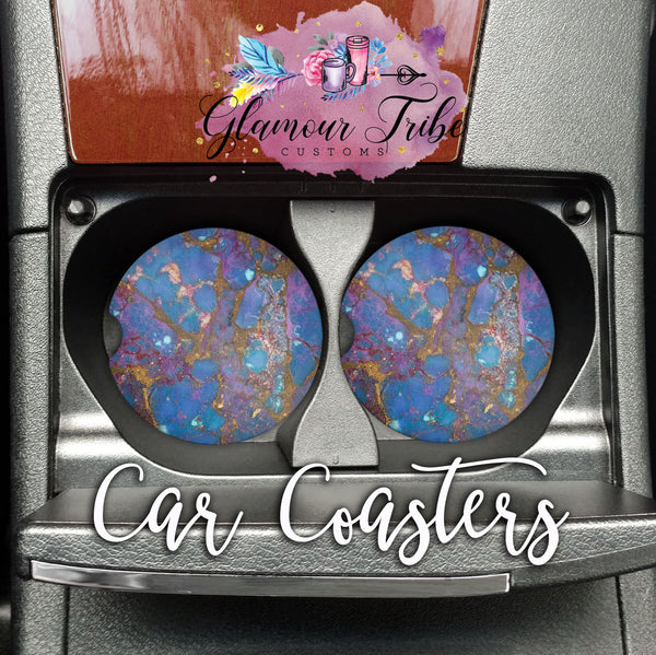Blue, Gold, and Pink Marble Design Car Coasters