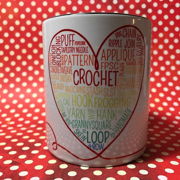 Crochet words mug