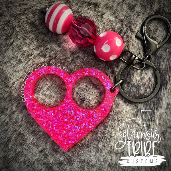 READY TO SHIP Heart Mini Self Defense Glitter Keychain FREE SHIPPING!