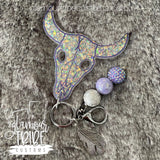 Bull Skull Self Defense Glitter Keychain FREE SHIPPING!