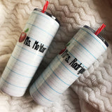 Teacher Writing Paper Glitter Tumbler, Teacher Gift, School Theme Tumbler, Gift for Her, Custom Glitter Tumbler, Personalized Tumbler, School Teacher Gift, Teacher Appreciation
