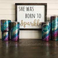Peacock glitter swirl tumbler, gift for her, Mother's Day Gift, glittered tumbler, customized tumbler, personalized tumbler, bling cup, friend gift