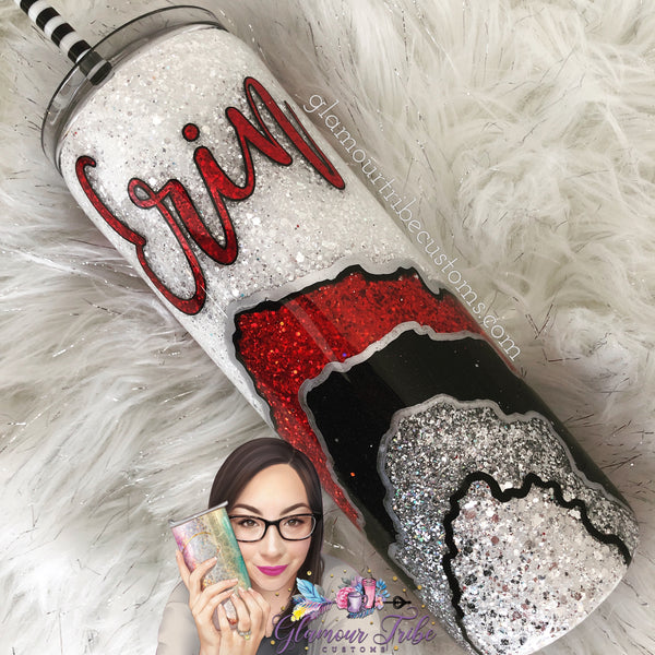 Queen of Hearts Geode Glitter Tumbler, agate glitter tumbler, geode glitter tumbler, bling tumbler, gift for her, Mother's Day gift, sparkly cup, bling cup