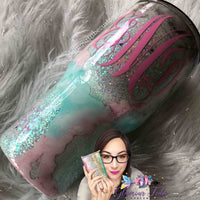 Seafoam Geode Glitter Tumbler, geode tumbler, customized glitter tumbler, glittered tumbler, gift for her, Mother's Day gift, green glitter tumbler, geode tumbler, best friend gift, bling tumbler, monogram tumbler