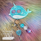 Kawaii Narwhal Self Defense Glitter Keychain FREE SHIPPING!