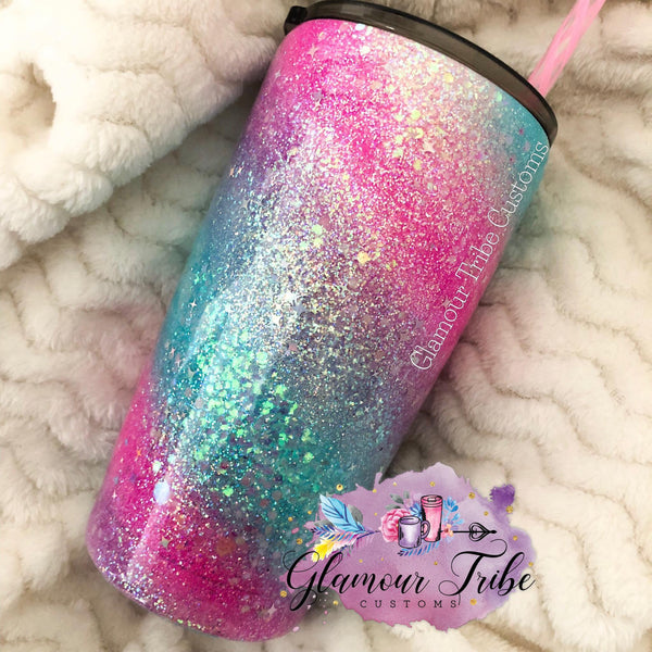 Unicorn Swirl Glitter Tumbler, glittered tumbler, custom tumbler, personalized tumbler, glitter dipped tumbler, gift for her, Mother's Day Gift, bling tumbler, best friend gift, opal glitter tumbler, monogram tumbler