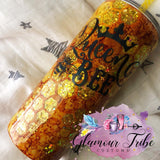 Queen Bee Glitter Tumbler, beekeeper tumbler, apiarist tumbler, glitter bee tumbler, yellow gold glitter tumbler, peekaboo tumbler, gift for her, Mother's Day gift, customized tumbler, bling tumbler, glitter dipped tumbler