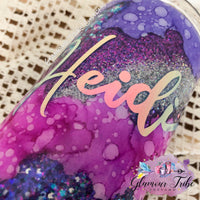 Plum and Teal Geode Swirl Glitter Tumbler, geode glitter tumbler, customized glitter tumbler, personalized tumbler, gift for her, Mother's Day gift, best friend gift, bling tumbler, glittered tumbler