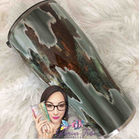 Patina and Weathered Wood Geode, Patina Tumbler, patina and wood geode tumbler, custom stainless tumbler, personalized tumbler, gift for her, rustic tumbler, geode tumbler