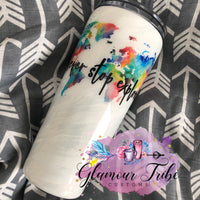 White Waves UV/Glow Glitter Tumbler, Glitter Tumbler, Custom Tumbler, Customized Glitter Tumbler, Gift for her, Mother's Day Gift, Monogram Tumbler, Glow Tumbler