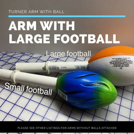 Turner Arm w/large football, cuptisserie arm, tumbler holder, cup holder, rotisserie arm