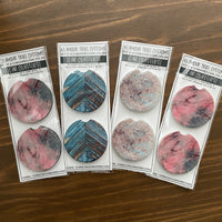 Green Marble Design Car Coasters