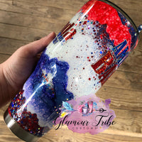 Red White and Blue Geode Glitter Tumbler, America glitter tumbler, American Pride tumbler, stars and stripes tumbler, gift for her, Mother's Day gift, custom glitter tumbler, personalized tumbler, bling cup
