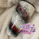 White Red Black and Silver Glitter Swirl Tumbler, Custom Glitter Tumbler, Gift for Her, Mother's Day Gift, Bling Tumbler, Glitter Dipped Tumbler