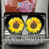 Sunflower Design Car Coasters
