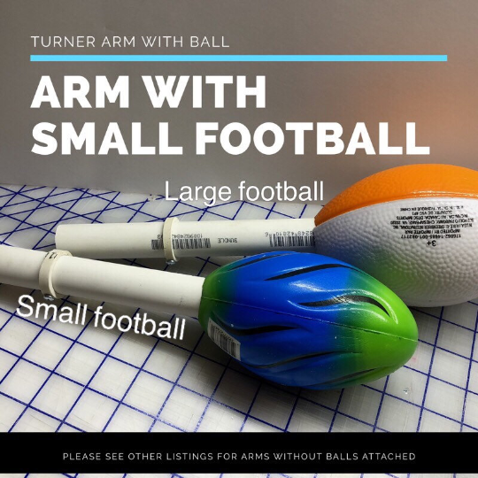 Cuptisserie Arm w/small football, tumbler turner arm, rotisserie arm, cup holding arm, tumbler holding arm