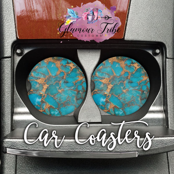Turquoise and Gold Marble Design Car Coasters