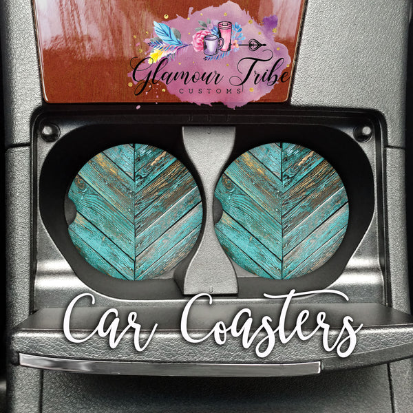 Weathered Turquoise Wood Design Car Coasters