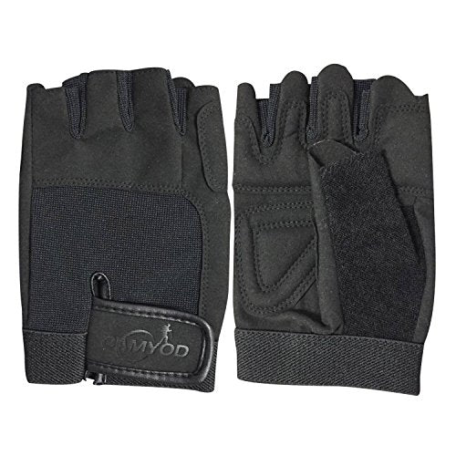 CAMYOD Fingerless Bike Gloves, Shock-Absorbing Half Finger Cycling Gloves with Anti-Slippery Palm Patch for Bike or Scooter