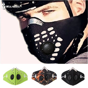 WOLFBIKE Super Anti-Pollution Motorcycle Bicycle Cycling Racing Mask Carbon Cloth Bike Ski Half Face Mask