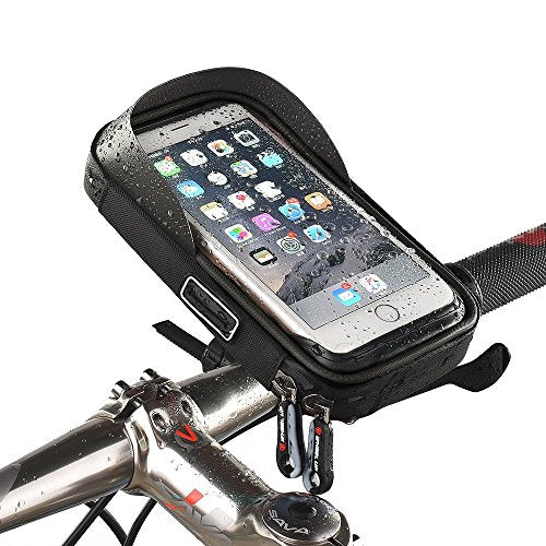 MOOZO Bike Handlebar Bag, Universal Waterproof Cell Phone Pouch Bicycle & Motorcycle Handlebar Phone Mount Holder Cradle with 360 Rotate for Motorcycle Bicycle or Electric Scooter