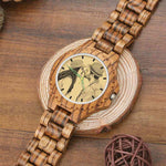 Men's Engraved Wooden Photo Watch Wooden Strap 45mm | CampusNote.com