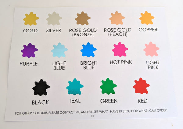 E&L Designs Foil Colours Swatch