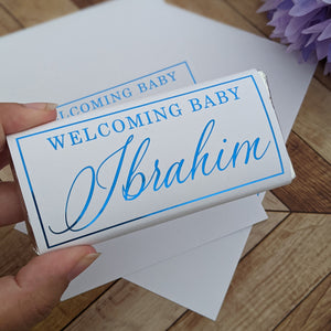 White Welcome Baby Chocolate Wrappers x 10