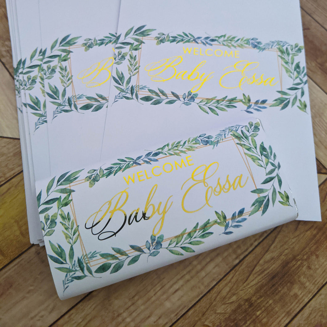 Greenery Baby Shower Chocolate Wrappers x 10