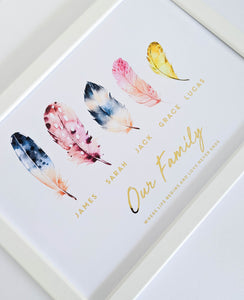 Our Family Feather Foil Print