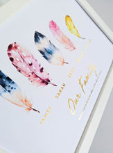 Load image into Gallery viewer, Our Family Feather Foil Print