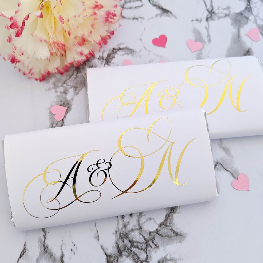 Wedding Chocolate Wrappers - Initials x 10