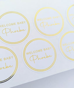 Welcome Baby White Foil Stickers