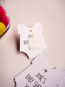 E&L Designs About to Pop Baby Suit Foil Tags - Set of 10