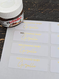 E&L Designs Baby Welcoming Nutella - 30 white stickers with foil