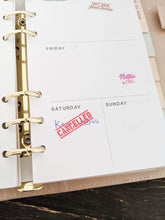 Load image into Gallery viewer, E&L Designs Cancelled & Rescheduled Clear Foil Planner Sticker Sheet