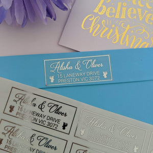 E&L Designs Christmas Return Address Labels - Clear with Foil