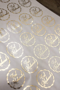 E&L Designs Clear Eid Mubarak Stickers with foil