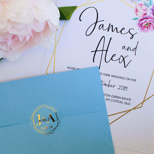 E&L Designs Clear Foil Geometric Wedding Invitation Envelope Seals