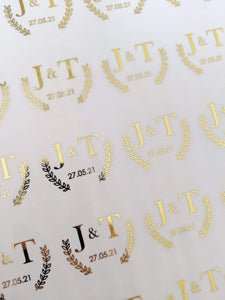 E&L Designs Clear Foil Leaf Border Wedding Invitation Envelope Seals