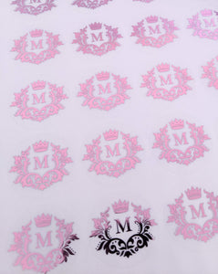 E&L Designs Clear Foil Monogram Flourish Stickers
