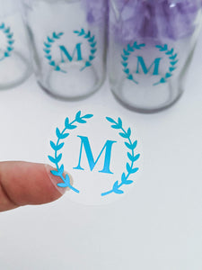 E&L Designs Clear Foil Monogram Wreath Stickers
