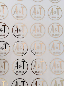 E&L Designs Clear Rose Gold Foil Wedding Invitation Envelope Seals