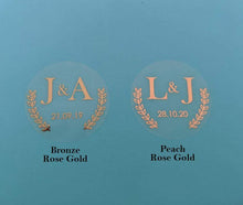 Load image into Gallery viewer, E&L Designs Clear Rose Gold Foil Wedding Invitation Envelope Seals