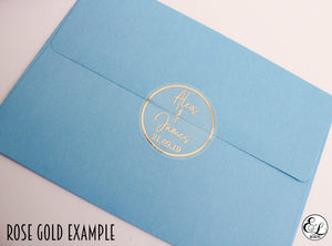 E&L Designs Clear Wedding Invitation Envelope Seals - Bride Groom Names and Date