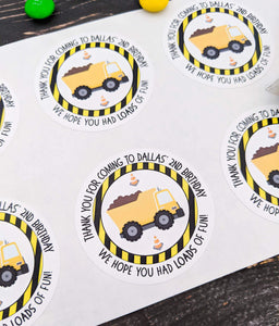 E&L Designs Construction Party Stickers