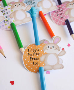 E&L Designs | Custom Foil Stickers Personalised Easter Bunny Pencil Holder, Set of 12