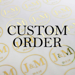 E&L Designs Custom Order for Nadine, 300 Stickers, 4cm Round, Silver Foil